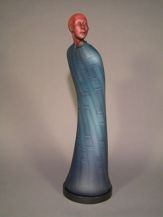 """SERENE Glass with steel base  28 x 9 x 9"""""""