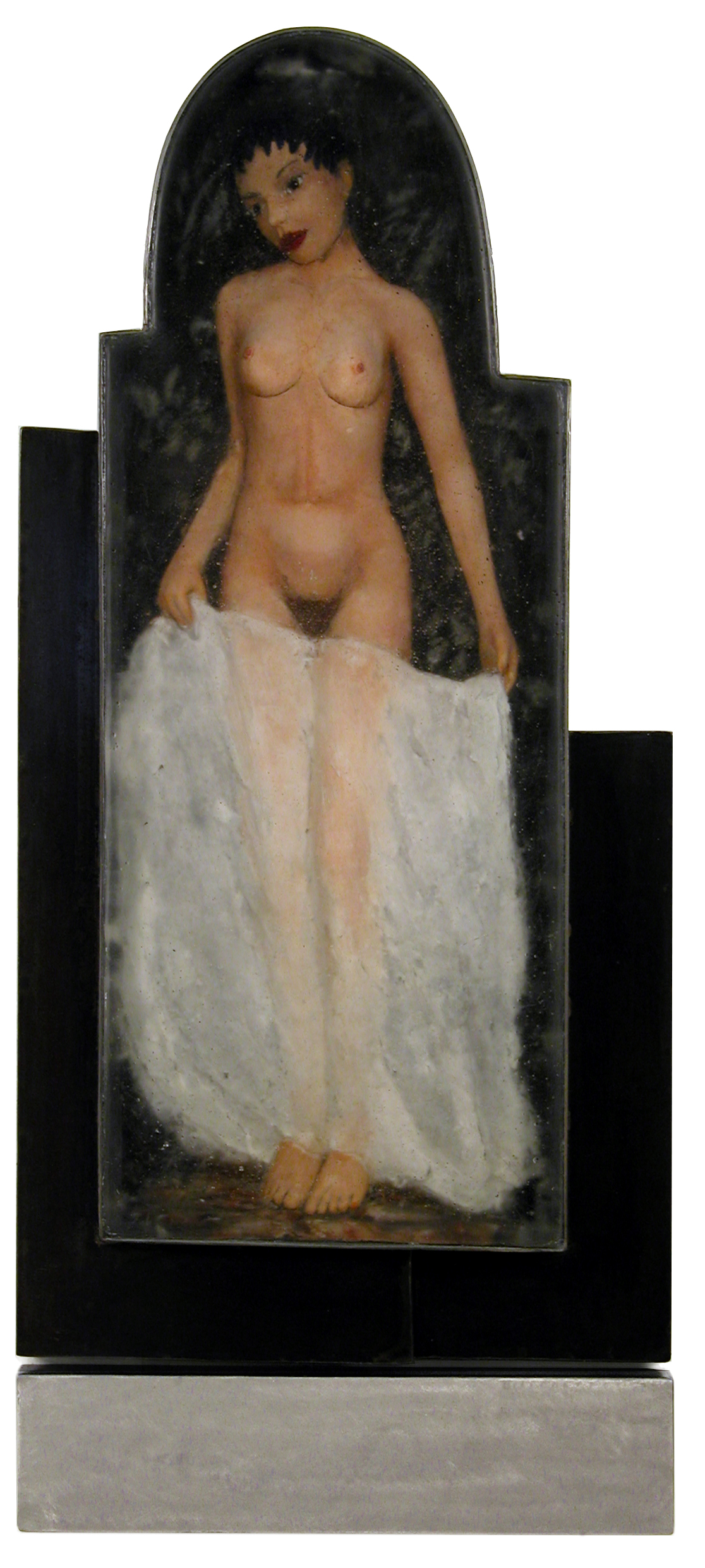 YOUNG WOMAN WITH CLOTH Reverse painted, cast glass, welded steel  41 x 8""