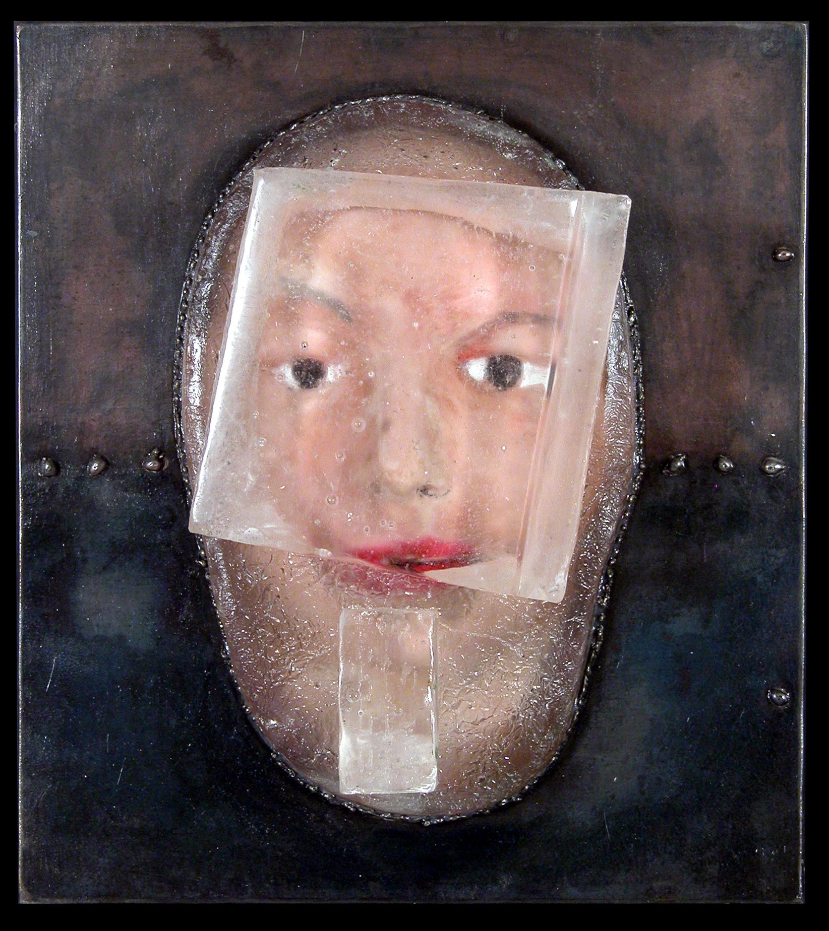 "UNTITLED (WAITER HEAD) Cast glass, steel, oil paint  15 x 13"""