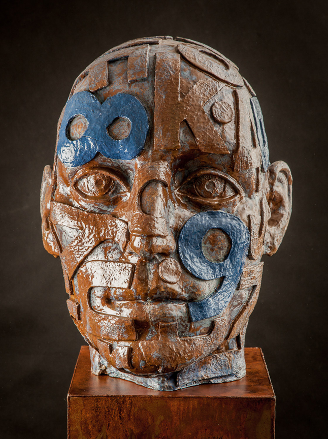 BIG HEAD  Ceramic, glazes, steel pedestal   63 x 18 x 22""