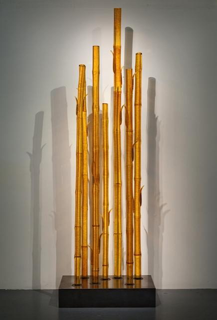 "TOPAZ BAMBOO Blown glass, steel stand  96 x 30 x 18"""