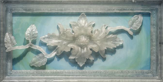 """GENESIS Cast glass, mixed media  18.5 x 37 x 3"""""""