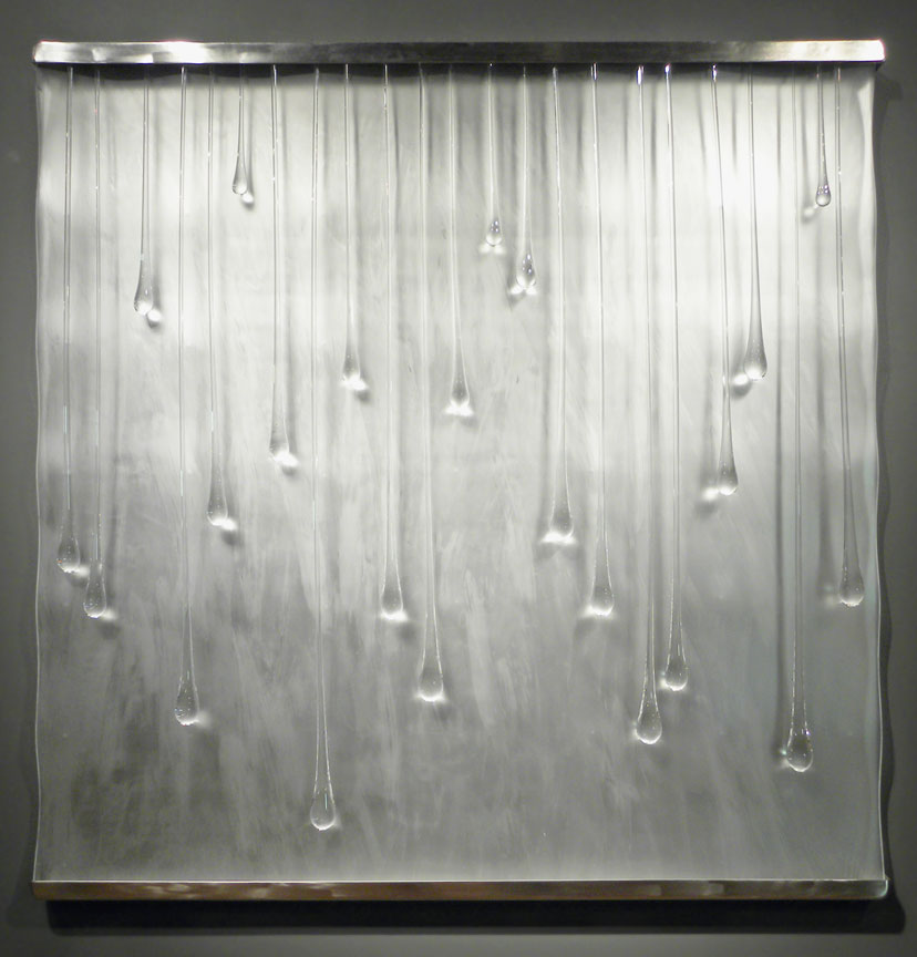 """WHAT THE WATER TELLS ME Glass, steel  48 x 48 x 5"""""""