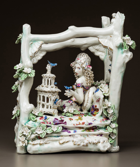 """FLOWERBED Hand built porcelain, decals, and luster  15 x 13 x 10"""""""
