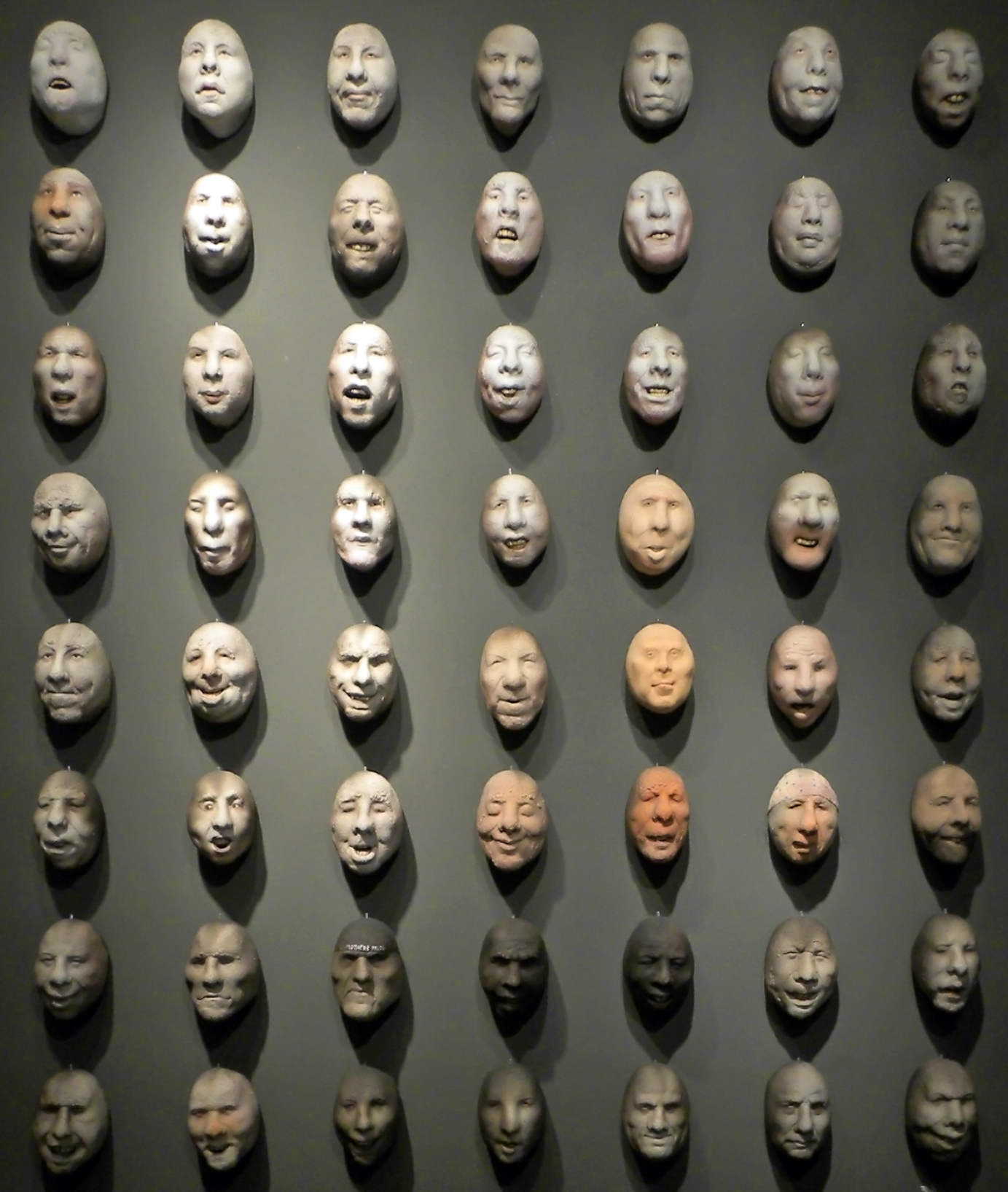 "HEAD INSTALLATION Raku fired ceramic and mixed media  5 x 3.5 x 4.5"""