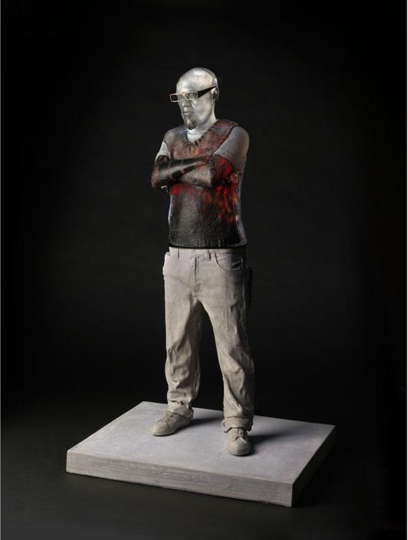 "TATTOOED GABE Mold blown glass, oil paint, cement, steel  38 x 22 x 18"""