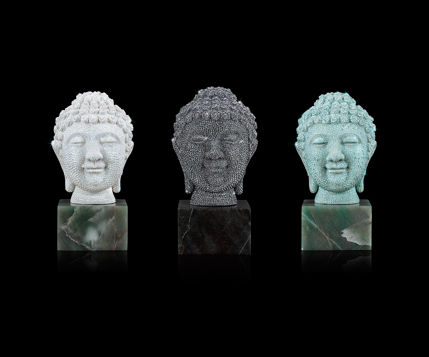 TRANQUILITY (3 BUDDHA HEADS) Crystals on hard resin, natural jade  6.5 x 3.75""