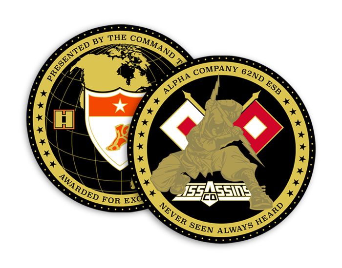 Alpha Company Assassins, Logo and Coin Design.