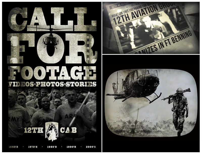 Call for Footage Poster and media samples from the 2015 12th Combat Aviation Brigades 30 minute Historical Documentary Video.