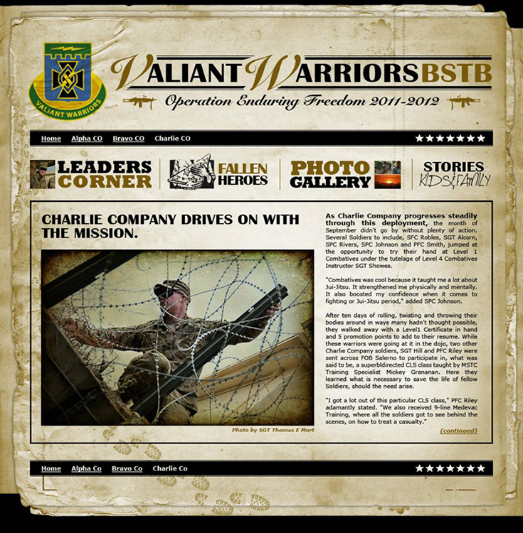 "Online newsletter design for the 3/1 BSTB Battalion ""Valiant Warriors""."