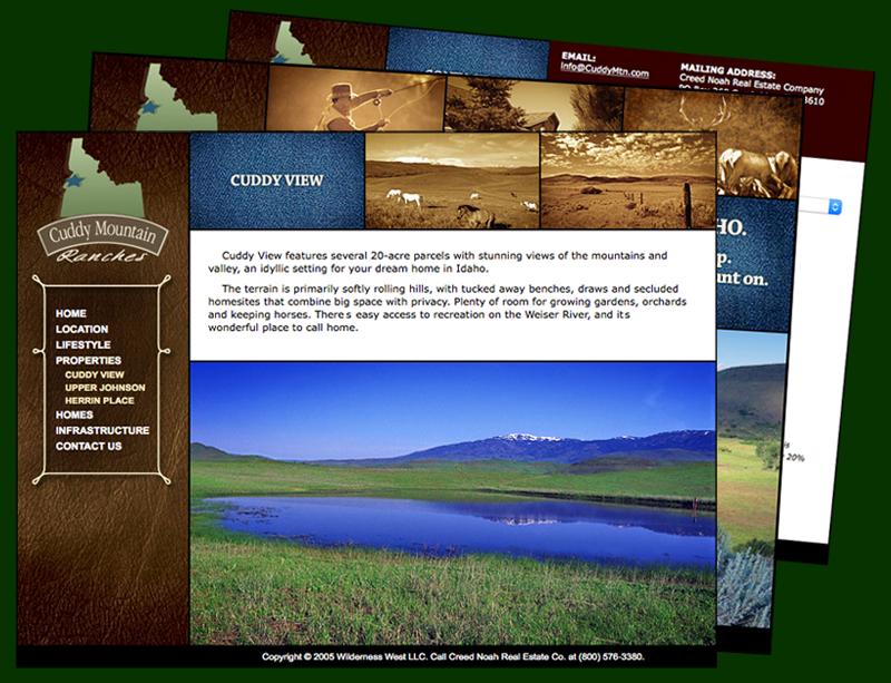 CuddyMtn.com website design, layout, html and css coding for Creed Real Estate Company.