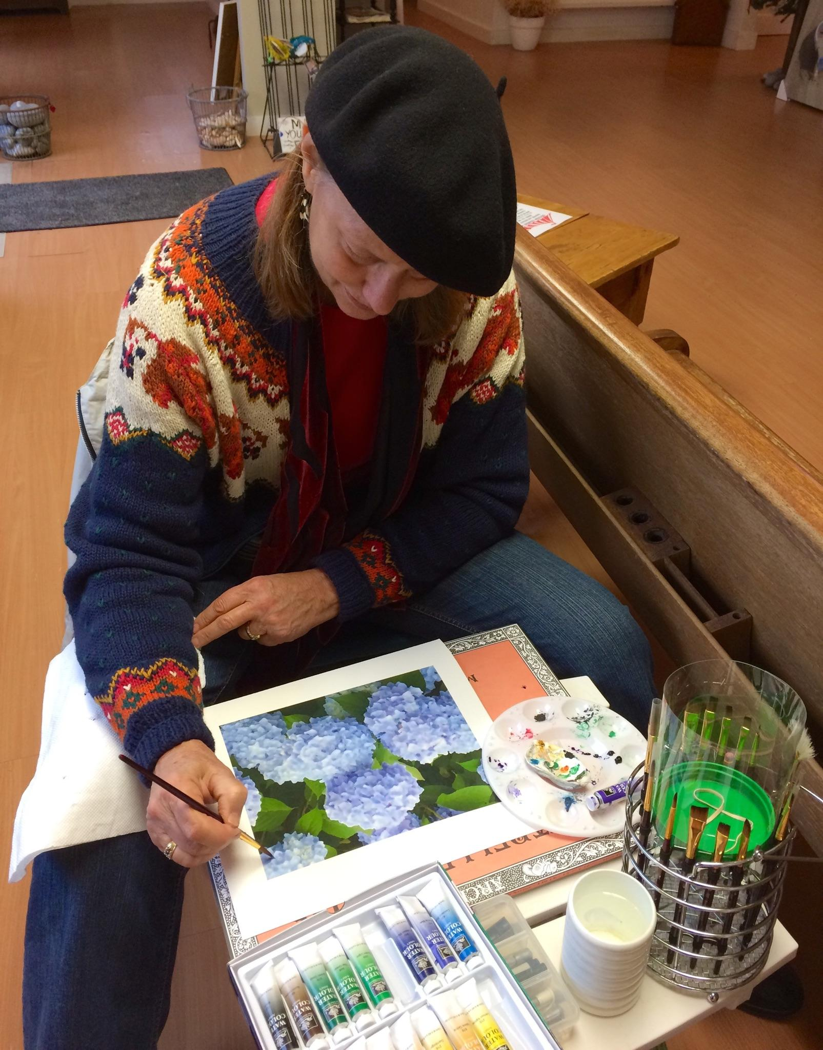 Heather painting at Local Color Art Gallery in Chatham. Photo Credit: Rebecca Sher