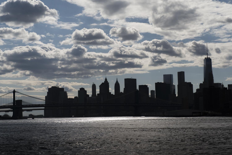 Lower Manhattan in sillhouette