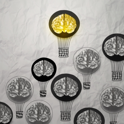 © Everythingpossible Dreamstime.com - Hand Drawn Air Balloons With 3d Metal Brain Photo.jpg
