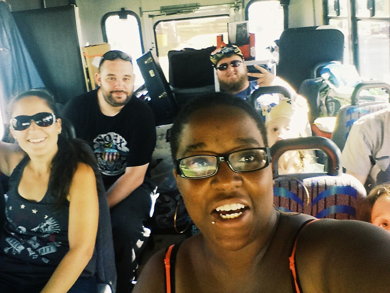 Silly faces on the No Lost Cause tour bus!
