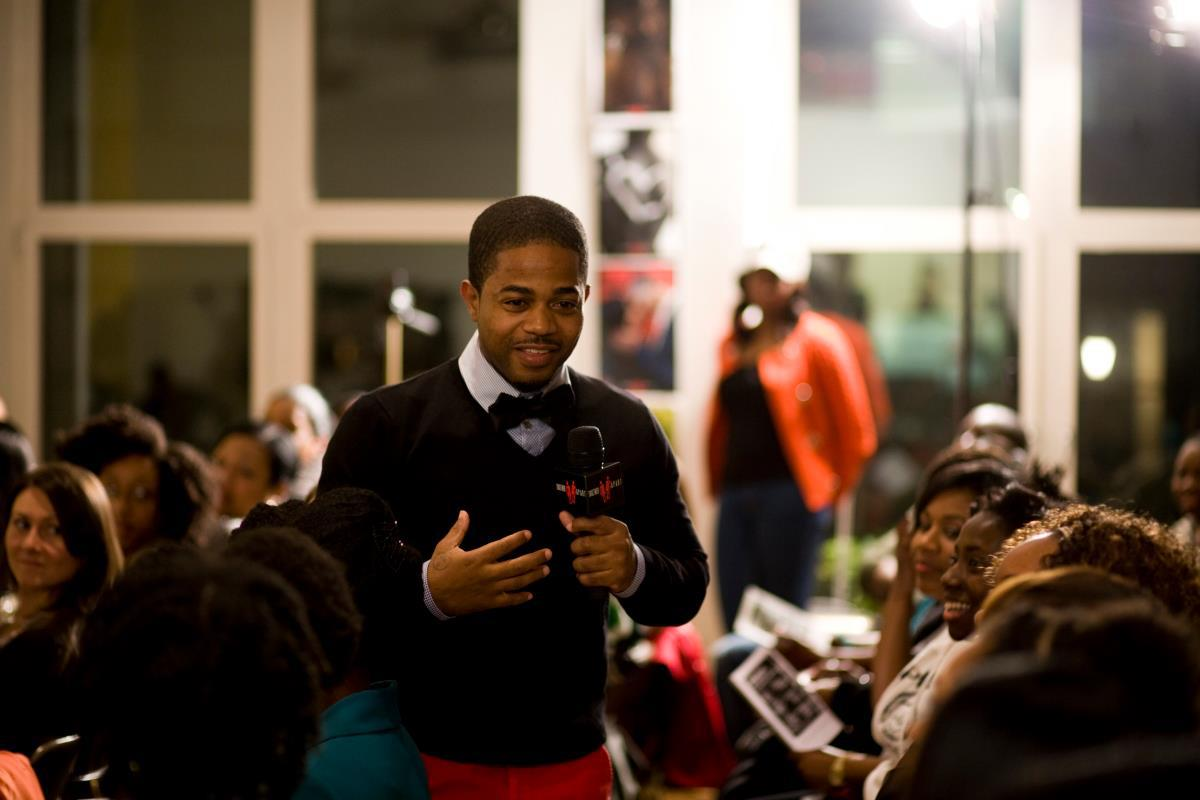 Kazi hosting a Together Apart event.