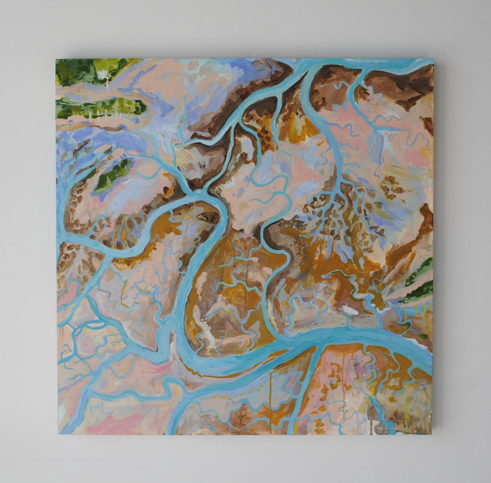 """""""Lighthouse Creek"""" 30 x 30 acrylic on wood panel"""