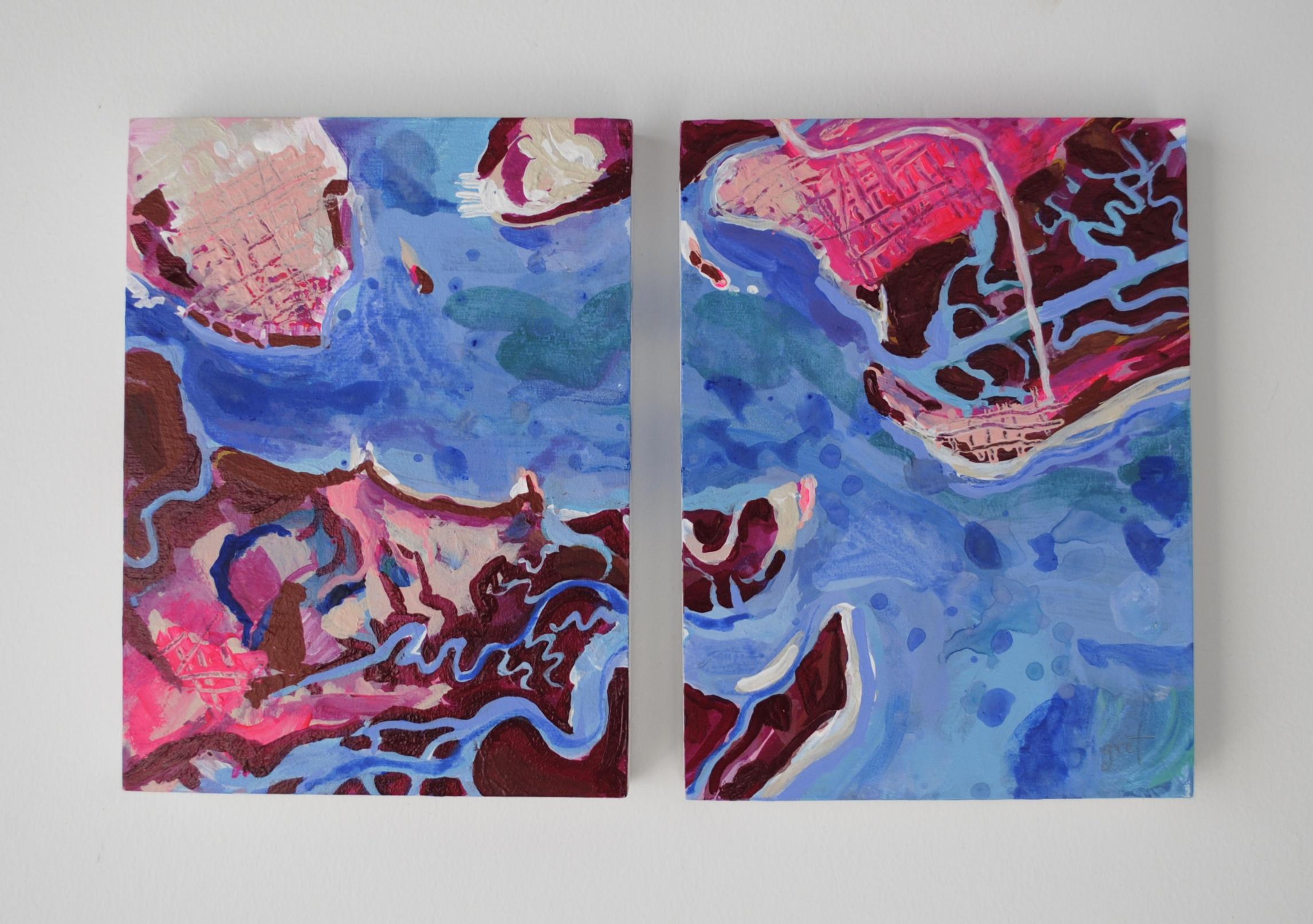 """Charleston Harbor mini"" (2) 6"" x 8"" acrylic on birch panel"
