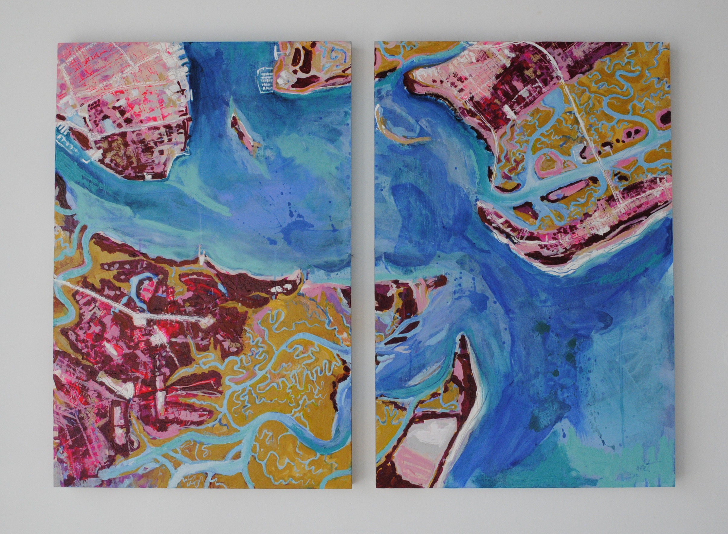 """Charleston Harbor"" 20"" x 30"". acrylic and oil stick on wood panel"