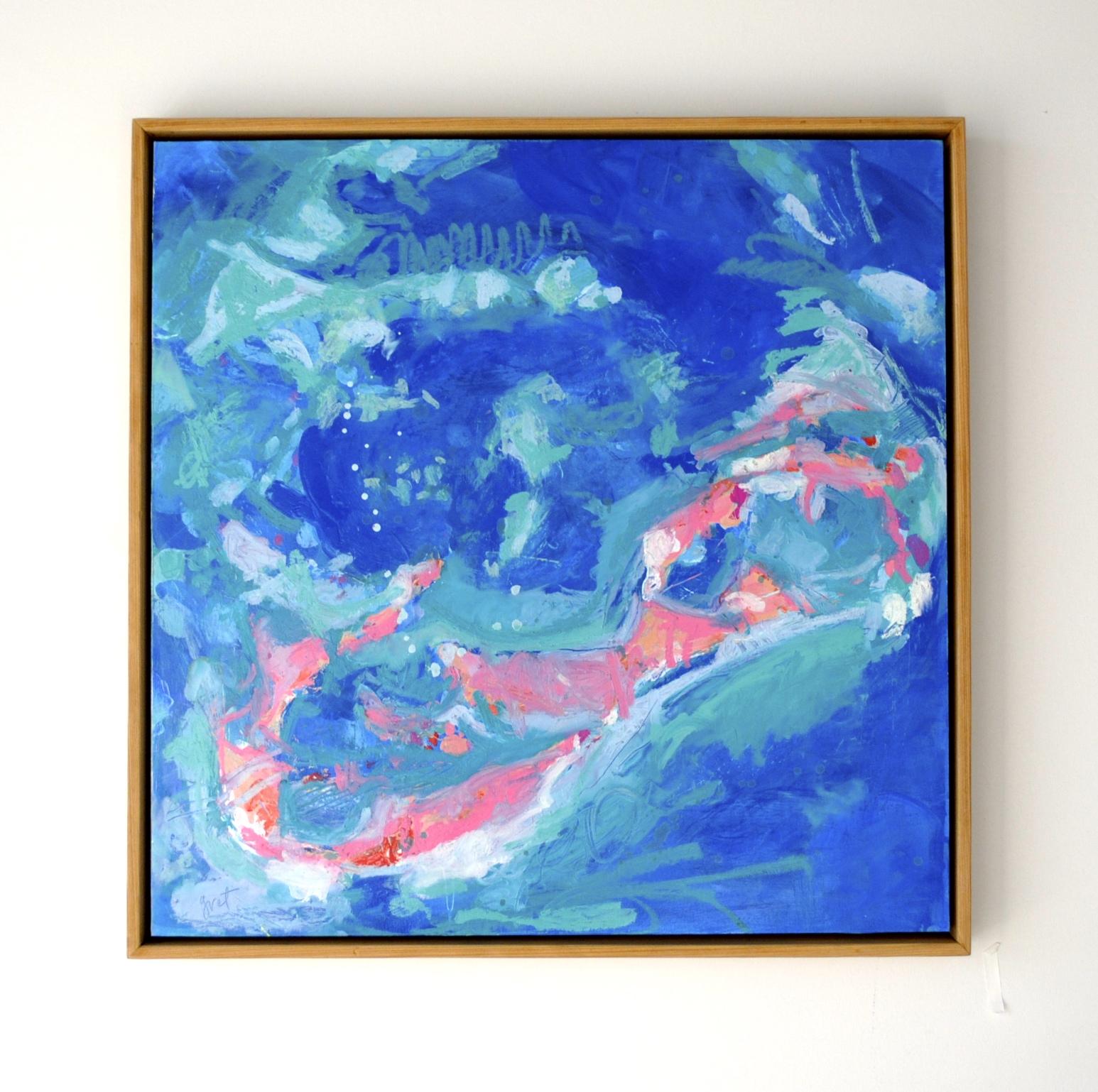 """Bermudaful"" - 25 x 25 - acrylic and oil stick on wood panel"