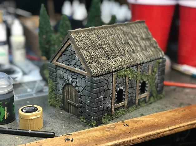 Medieval Cottage  , printed and painted by  Donny Hall