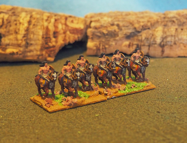 Barbarian Horsemen  , printed and painted by  Alan Saunders
