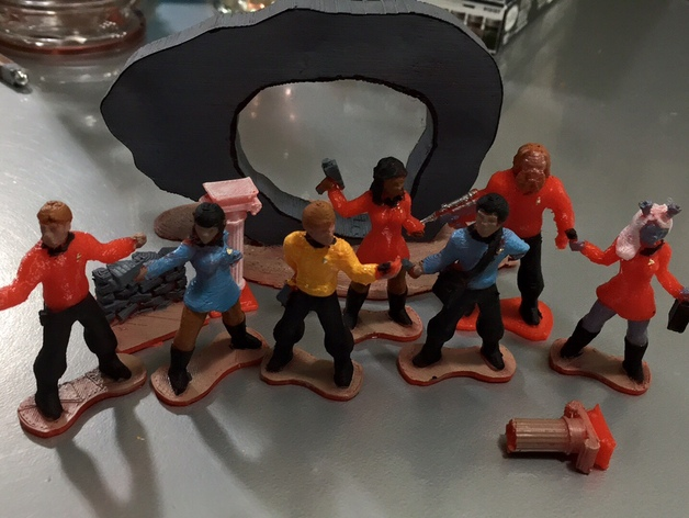 Starfleet Away Team Playset  , printed and painted by  Russell Meyers