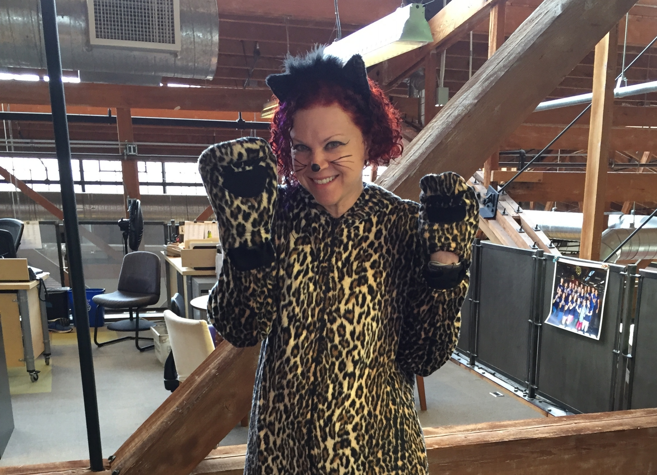 Erin shows her love of cats with her feline themed Halloween costume