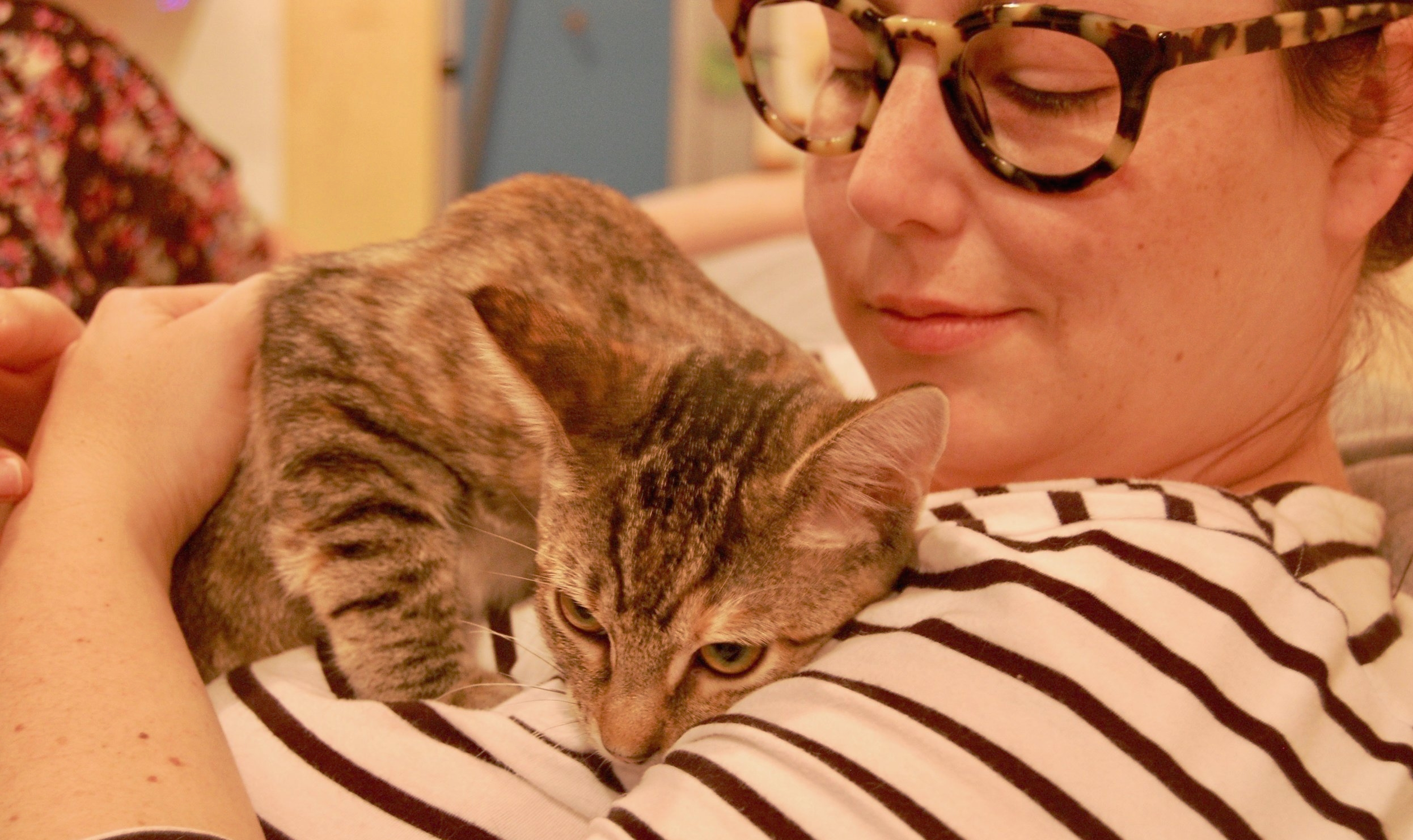 One final snuggle session with Oak before sending her on to her new home. Photo by Cathy Niland.