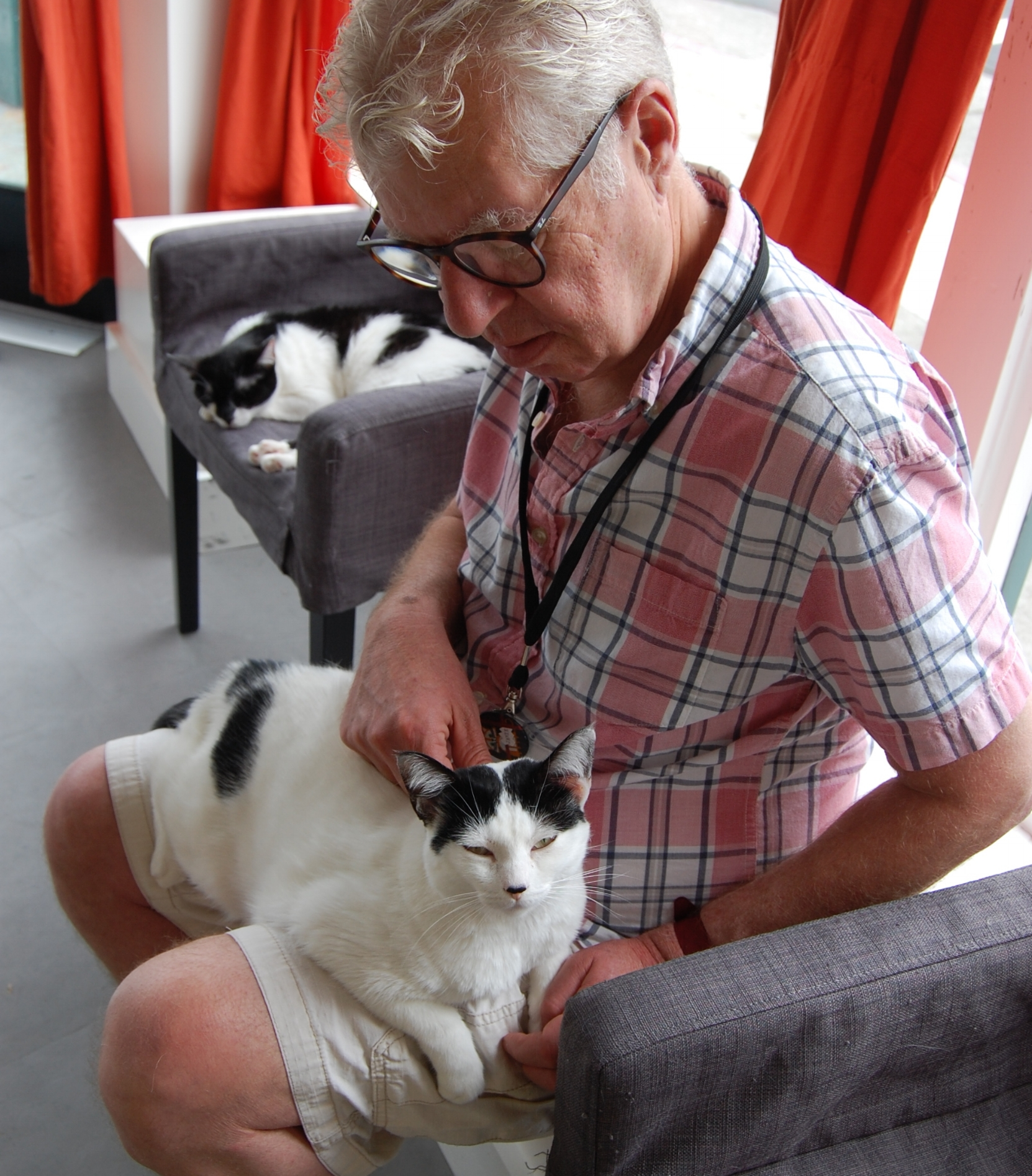 Jamie enjoys a quiet moment with lap cat Molly before the Cat Zone opens for the day.