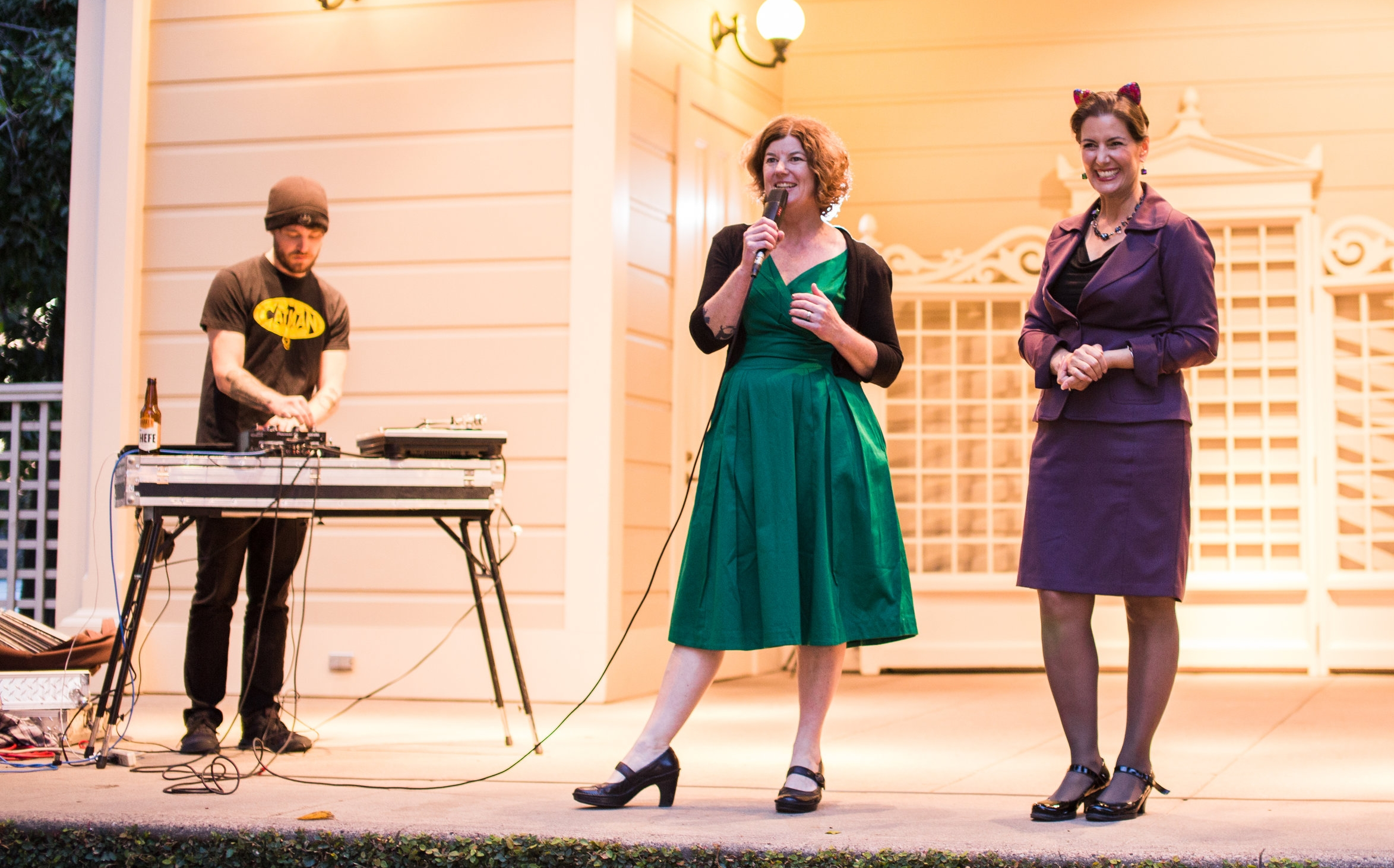 From left to right: DJ Adam Myatt (AKA The Cat Man of West Oakland), Cat Town Founder and Executive Director, Ann Dunn, and Oakland Mayor Libby Schaaf. Photo by Nautilus Lens Photography.