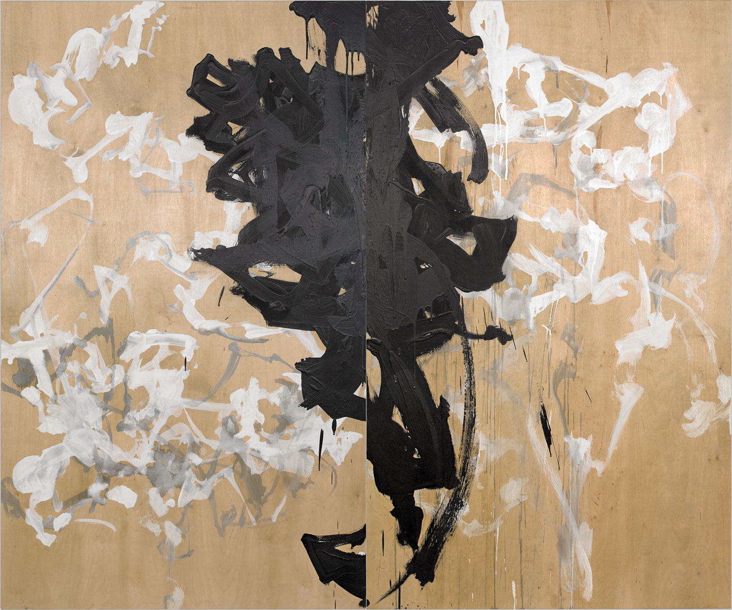 """COTERIE  acrylic and graphite on wood, diptych 60"""" x 72"""" 2016 SOLD"""