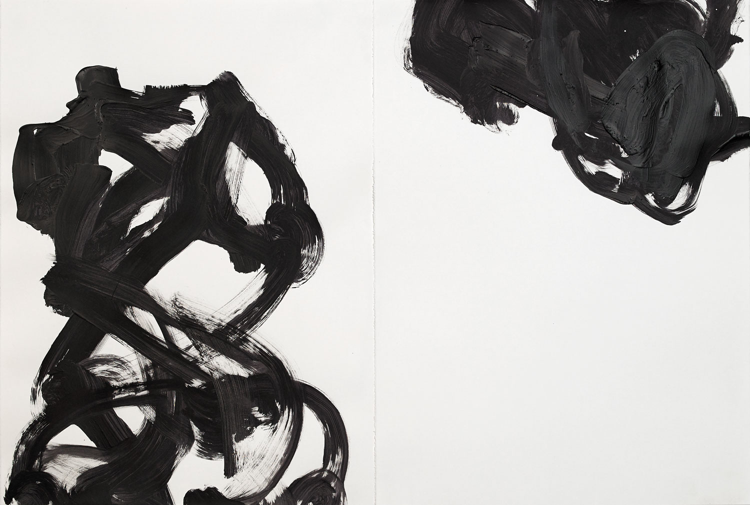 """STANDPOINT  acrylic on paper, diptych 30"""" x 44.75"""" 2016 SOLD"""
