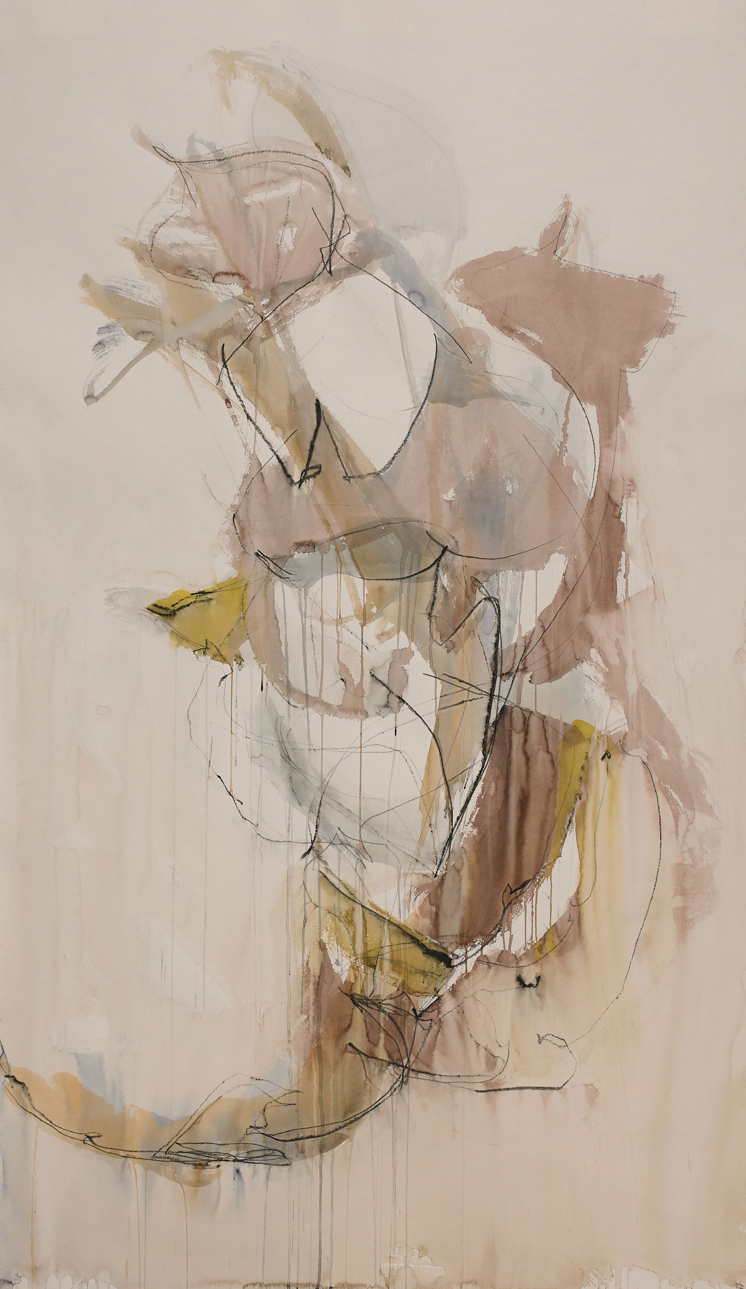 """CLOSE OF DAY  watercolour and graphite on paper 60"""" x 36"""" 2015"""