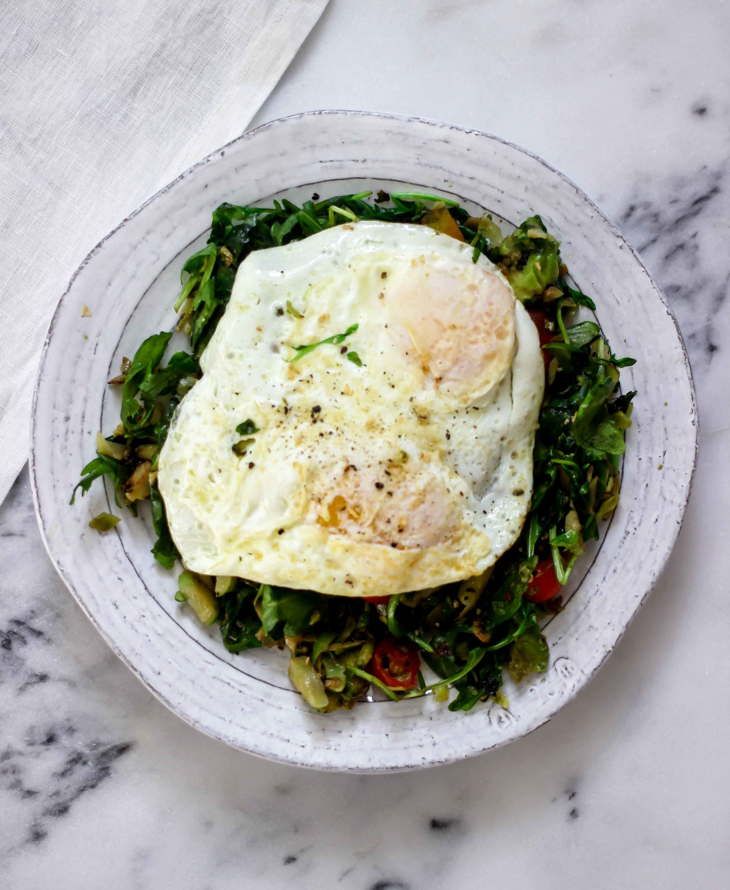 warm brussel sprouts and arugula winter salad