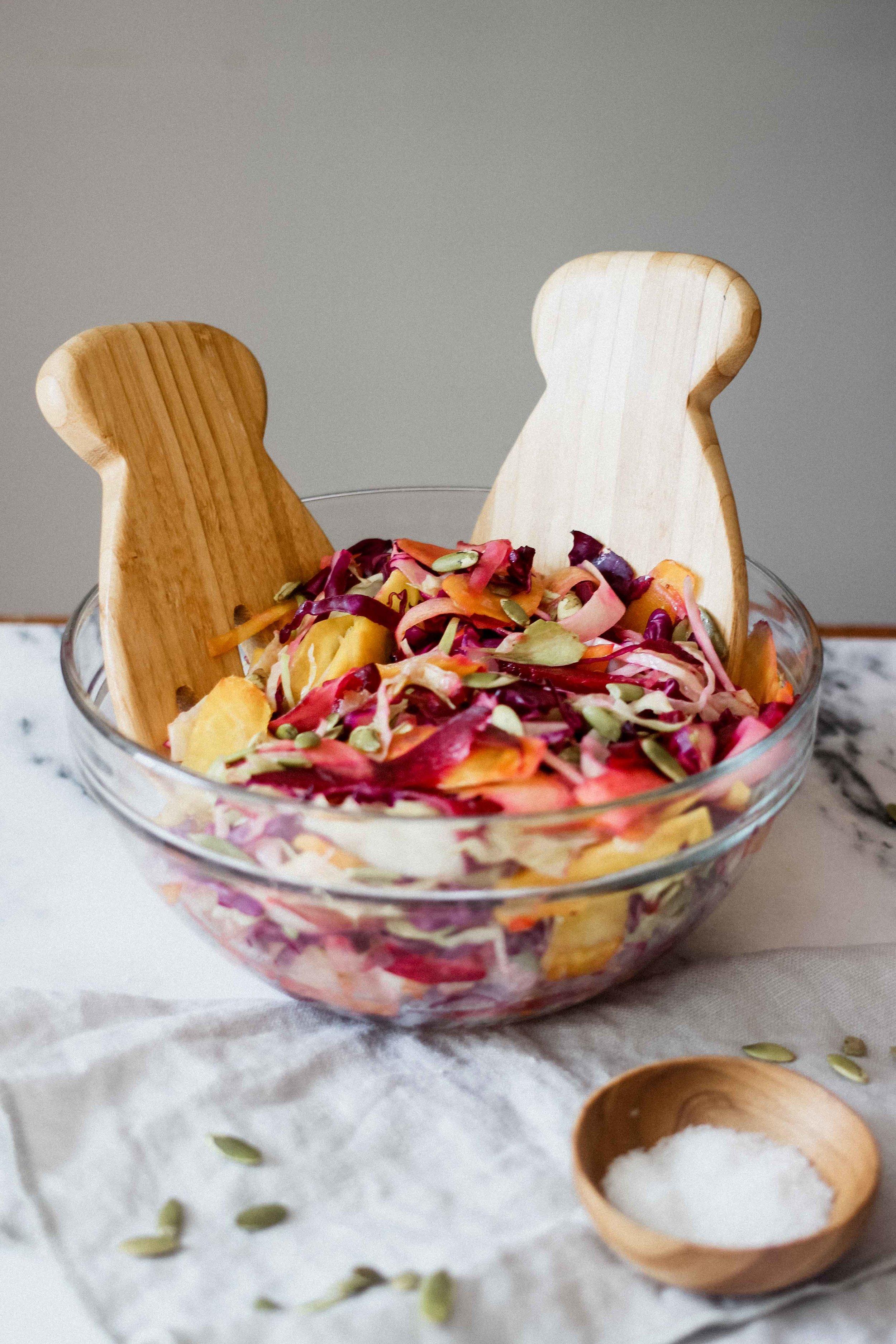 Winter Rainbow Cabbage Slaw With Lemon Vinaigrette - The Well Essentials