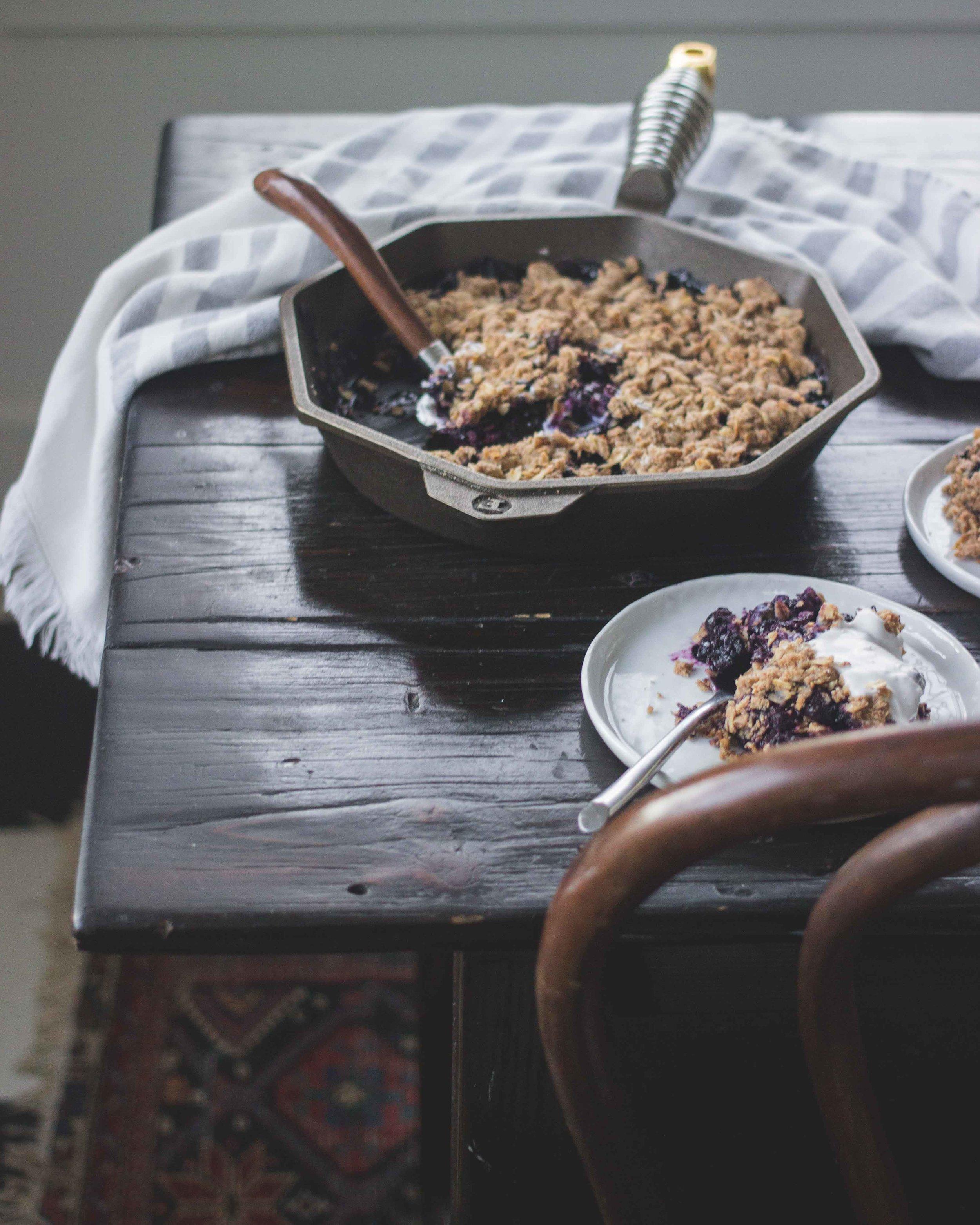 Cast Iron Pan Blueberry Crisp - The Well Essentials