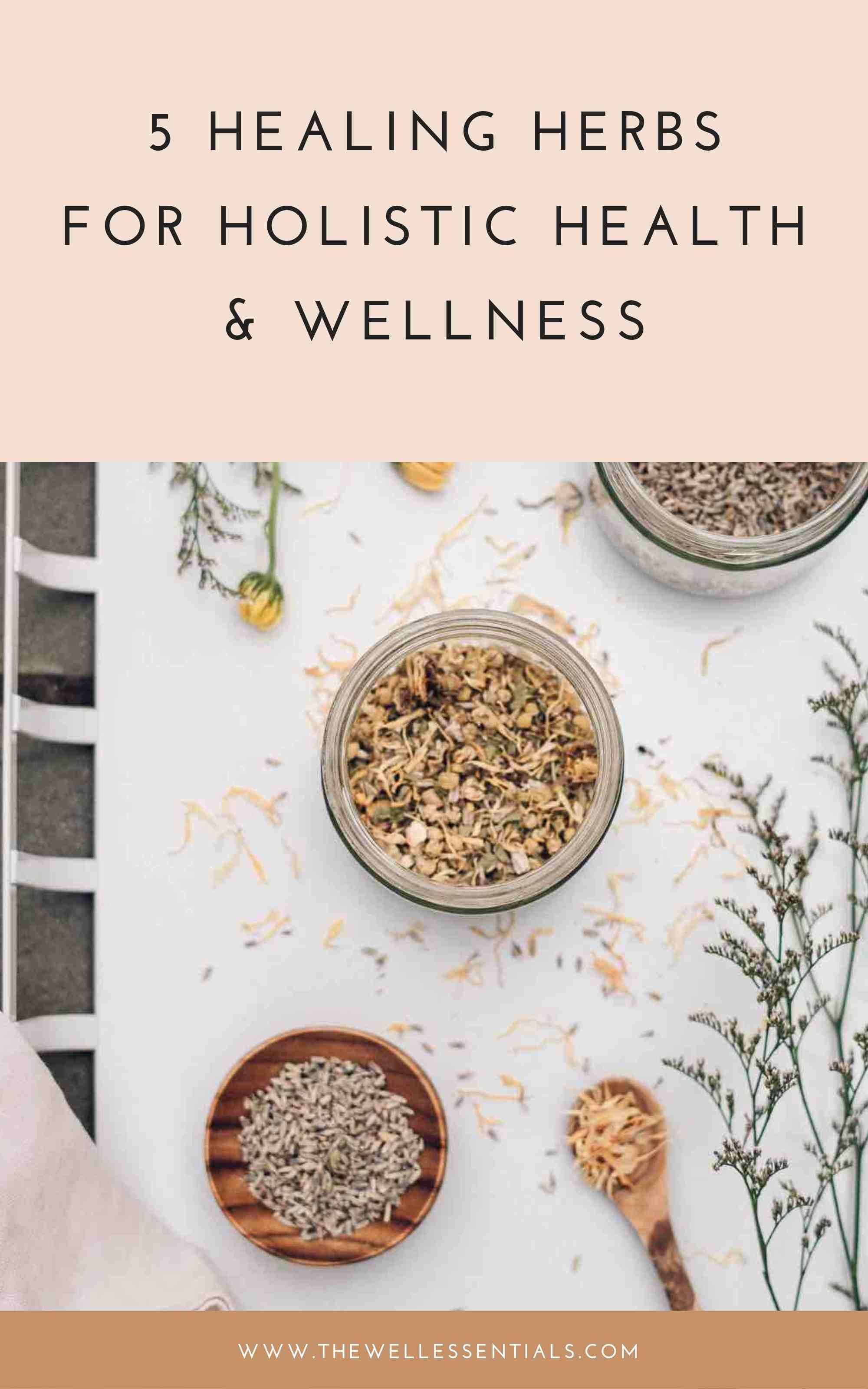 5 Healing Herbs For Holistic Health And Wellness - The Well Essentials - Integrative Dietitian Approved
