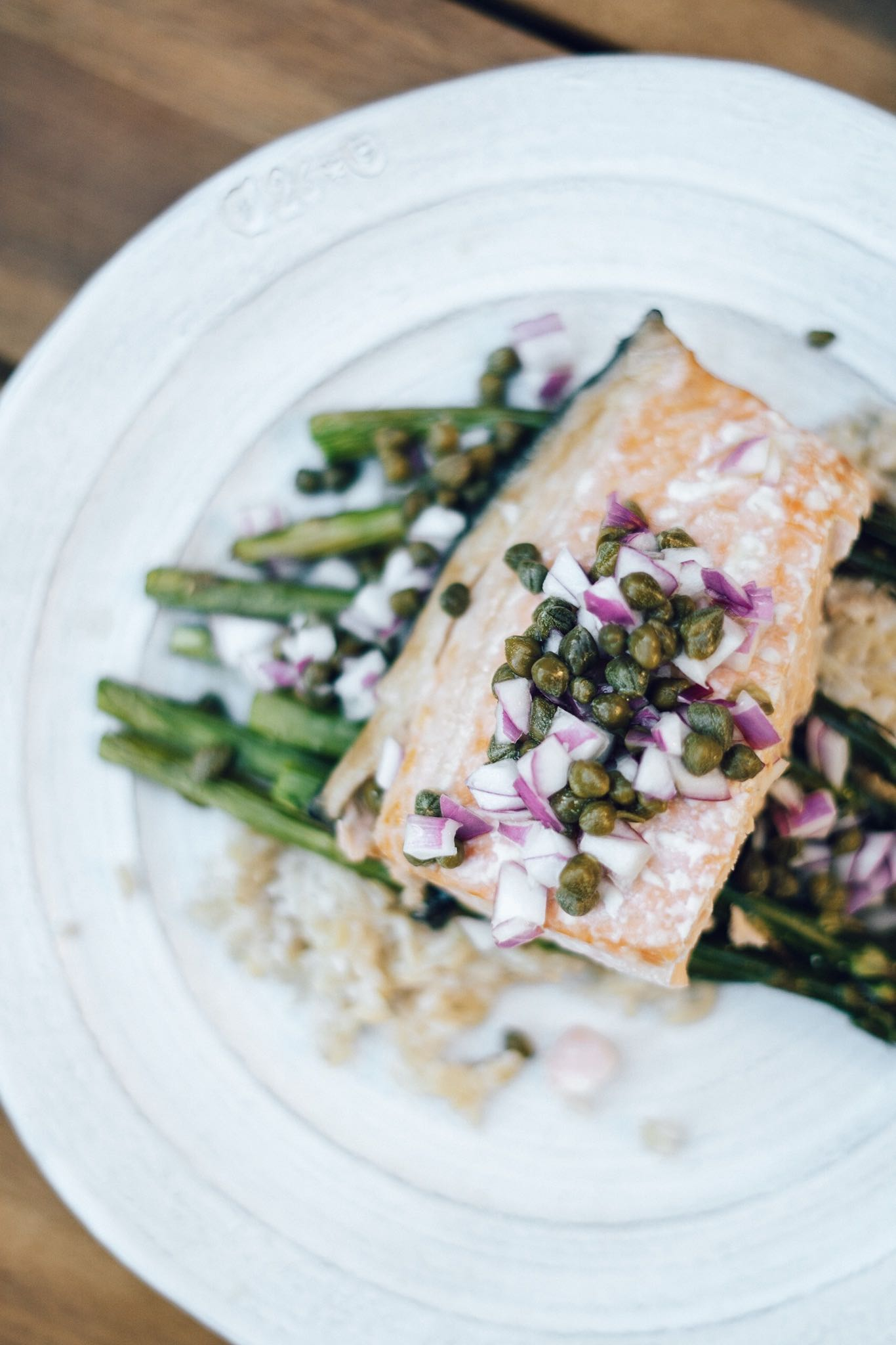 Asparagus Recipes You Will Love - Simple Pan Seared Sockeye Salmon With Roasted Asparagus, Capers, and Red Onion