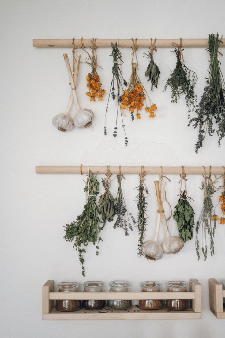 Simple Herb Drying Rack DIY - The perfect hanging herb drying rack for all your beautiful home grown herbs.