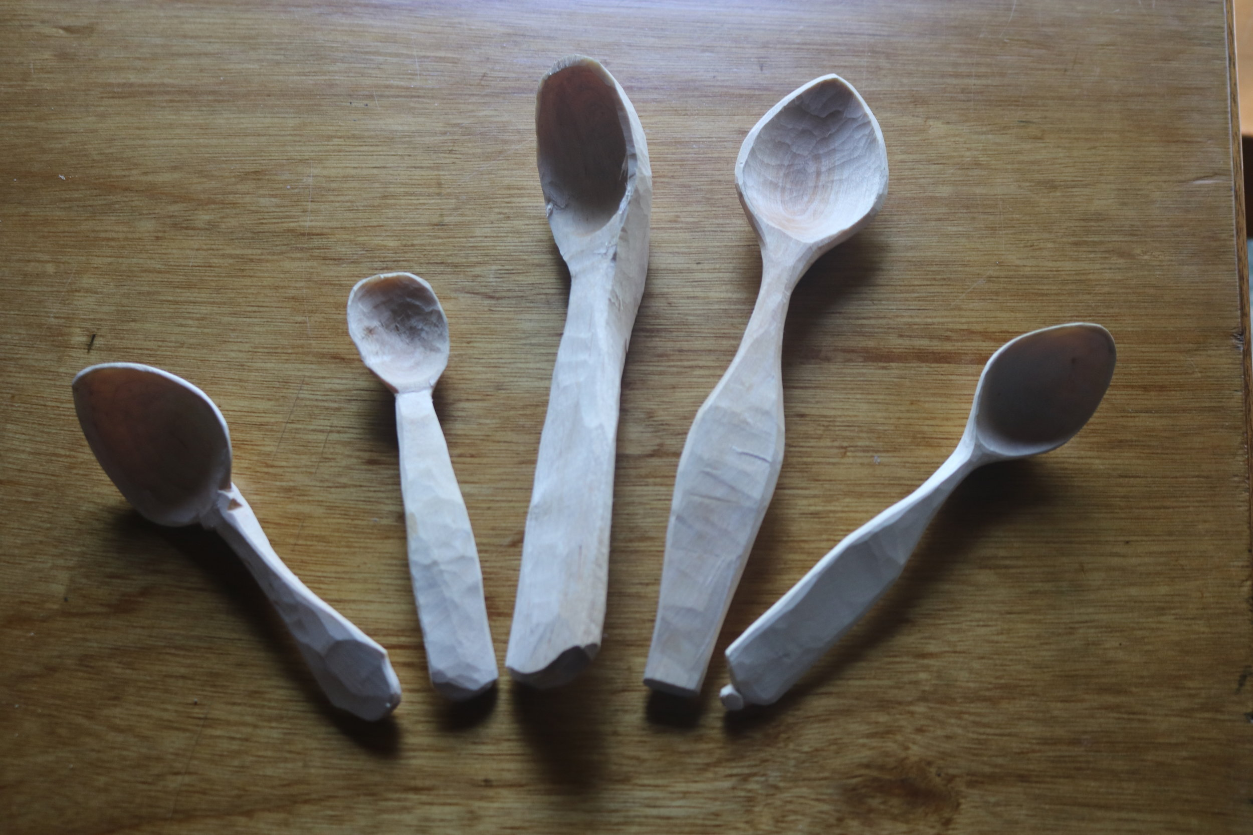 Apparently in woodworking culture you have to give away the first spoon that you carve. The campers gave us a spoon for everyone on crew, and some of them are their first ever spoons.