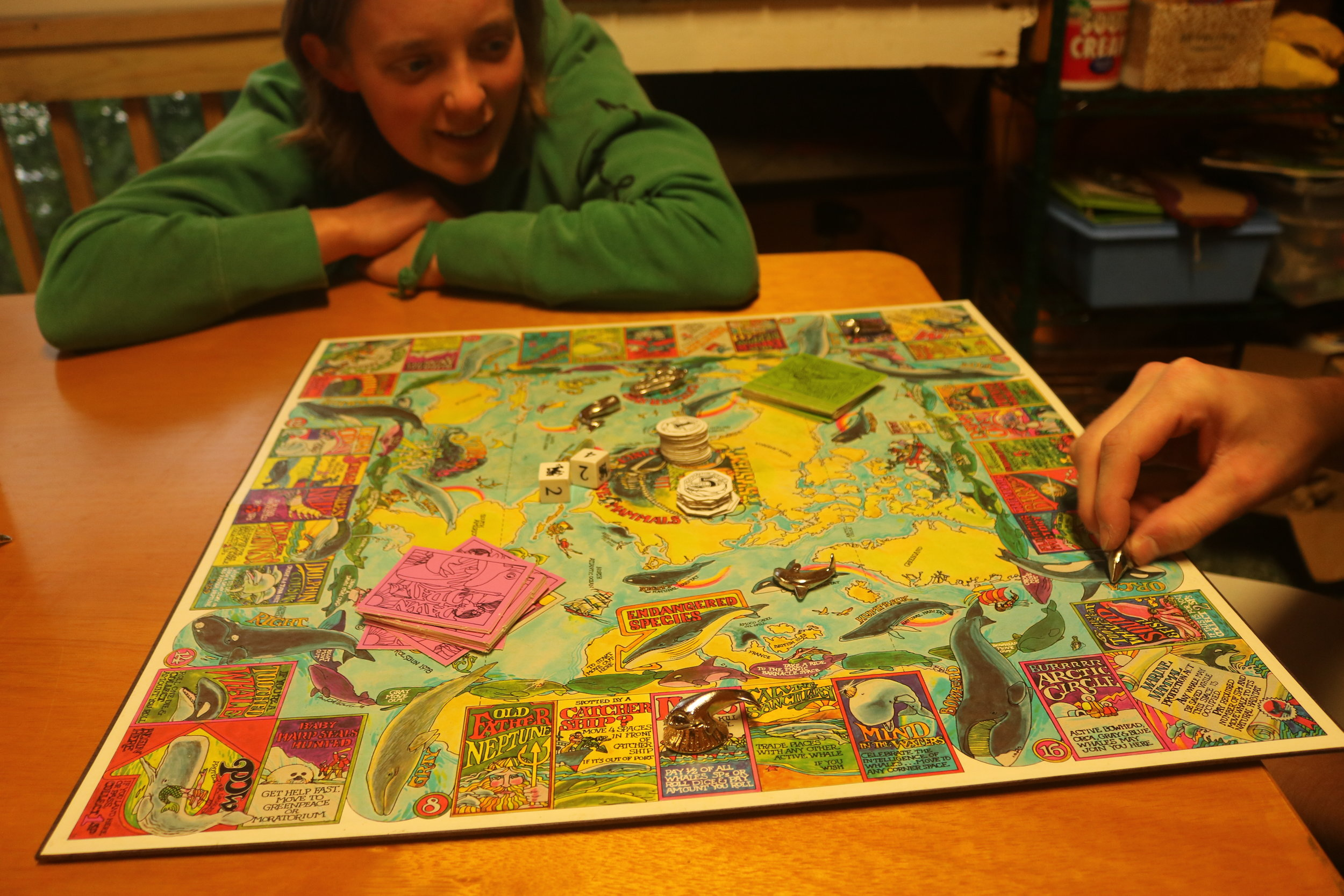 We played the hippie game ever - SAVE THE WHALES. It was really overcomplicated. Then the second half of the rulebook was just a pamphlet about whales.