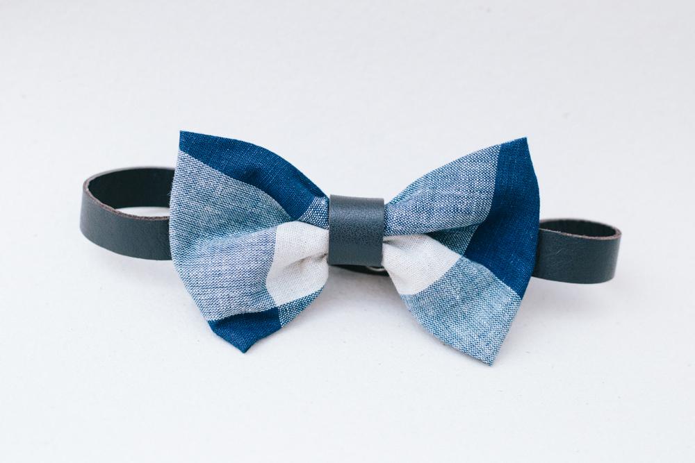 Cod.: L.1 - Xadrez azul | Algodão e couro café [R$ 130,00]