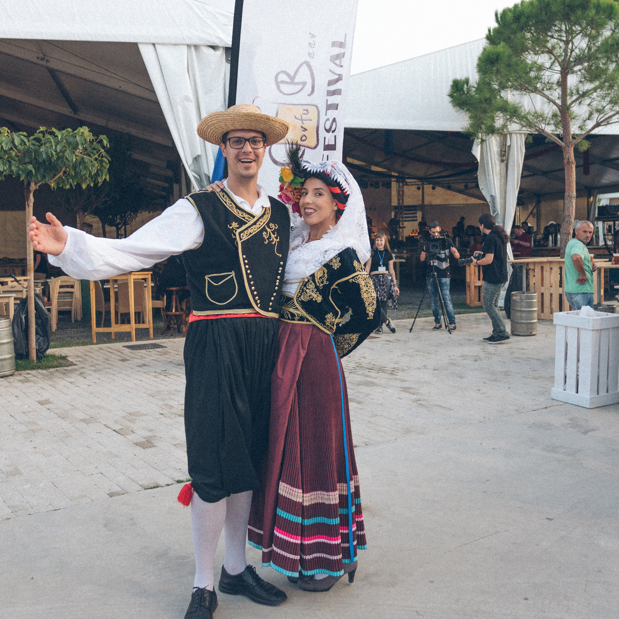 jamie patterson von richtofen and matt chojnacki in traditional corfiot dress