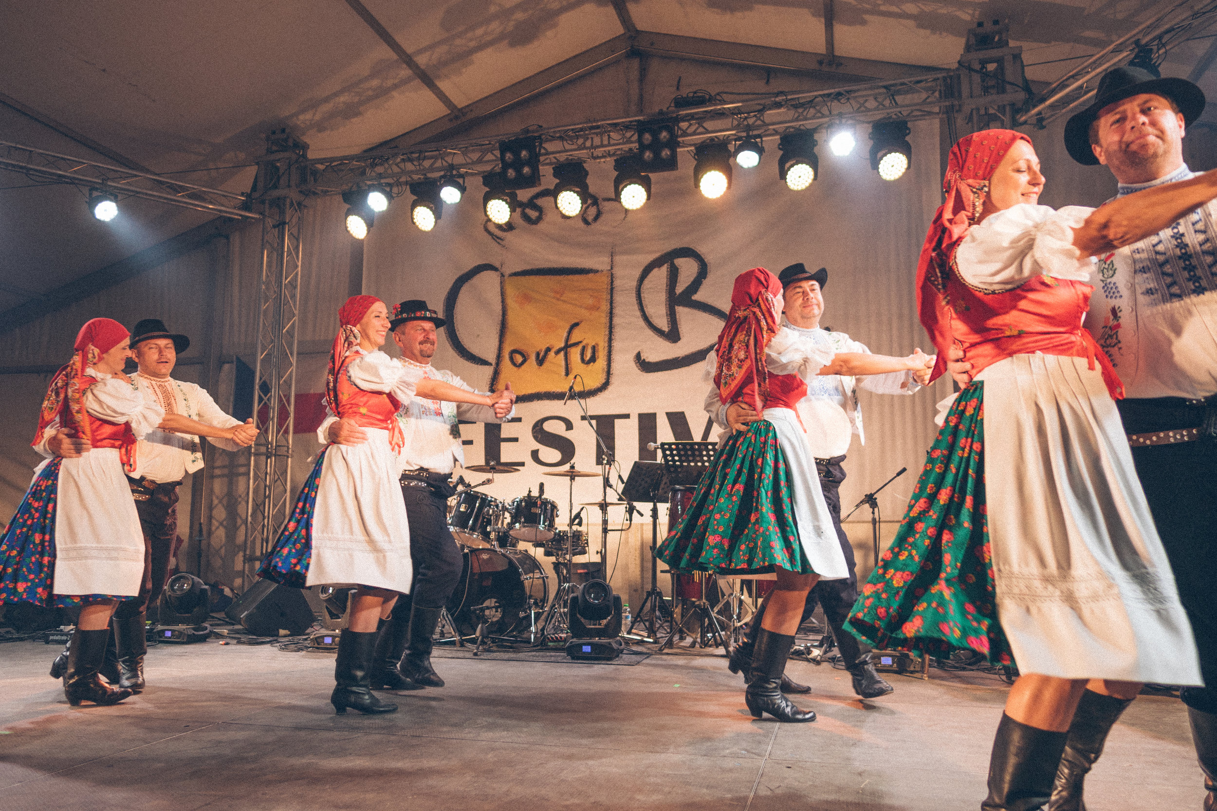 czech traditional dancers at corfu beer fest