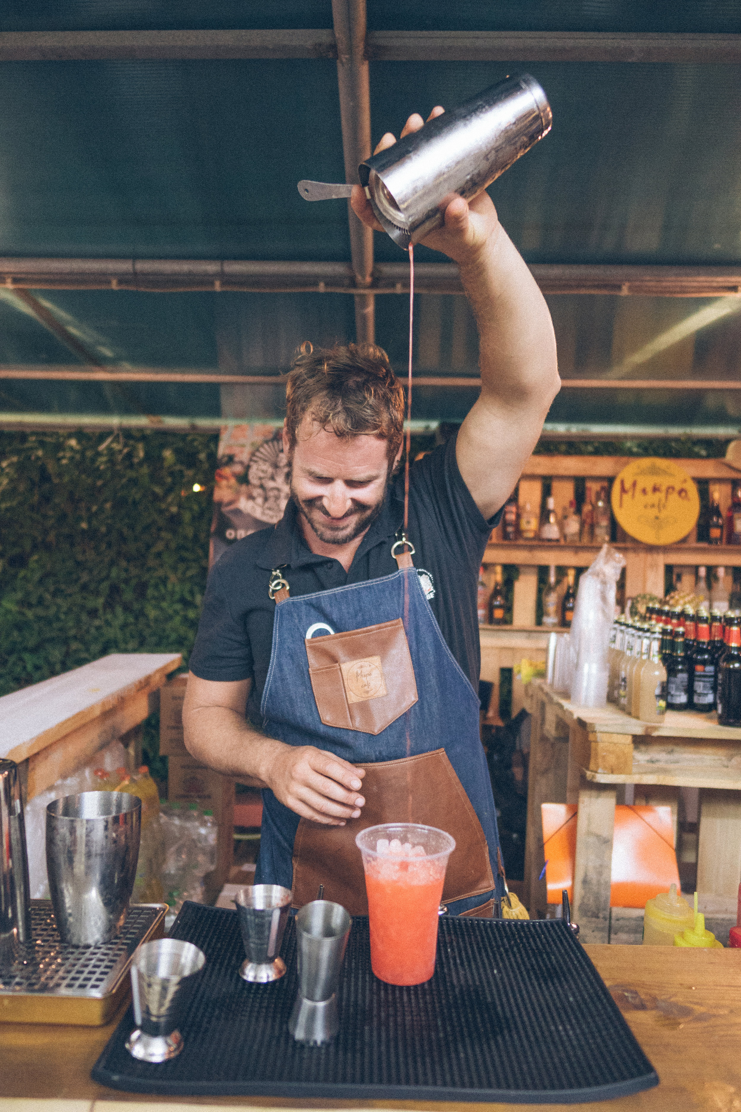 bartender at corfu beer fest