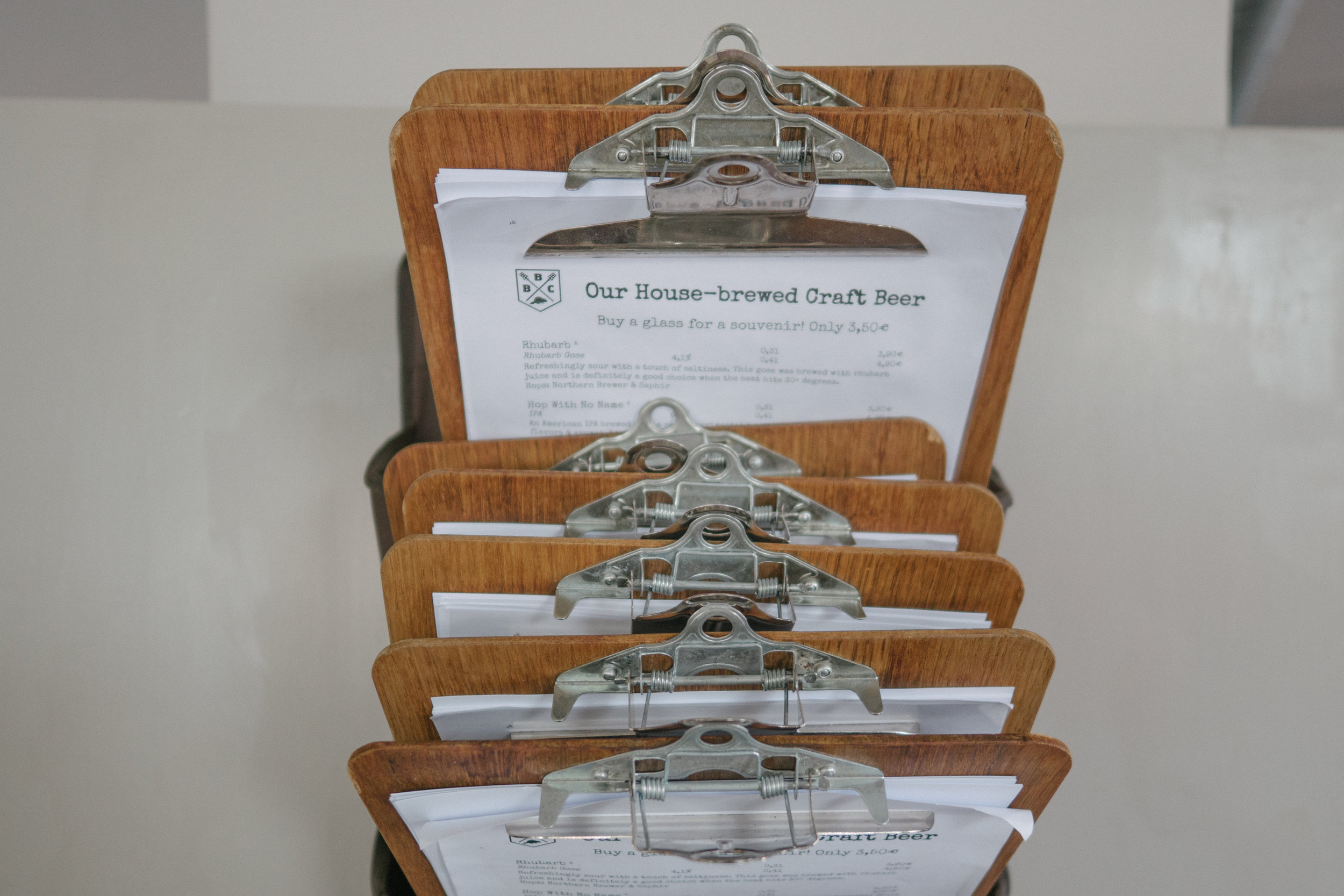The menus at Beaver Brewery Company