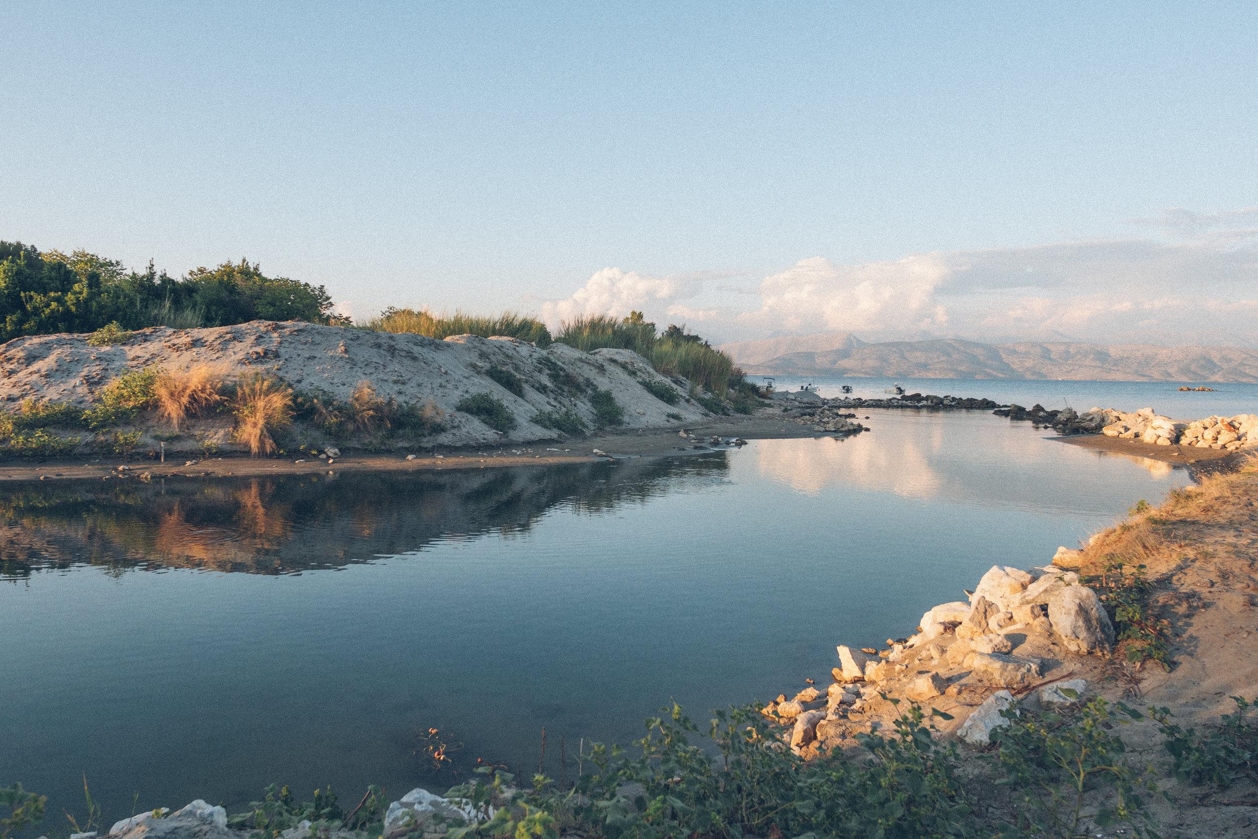 beach front in Agios stefanos  in corfu near pyramid city