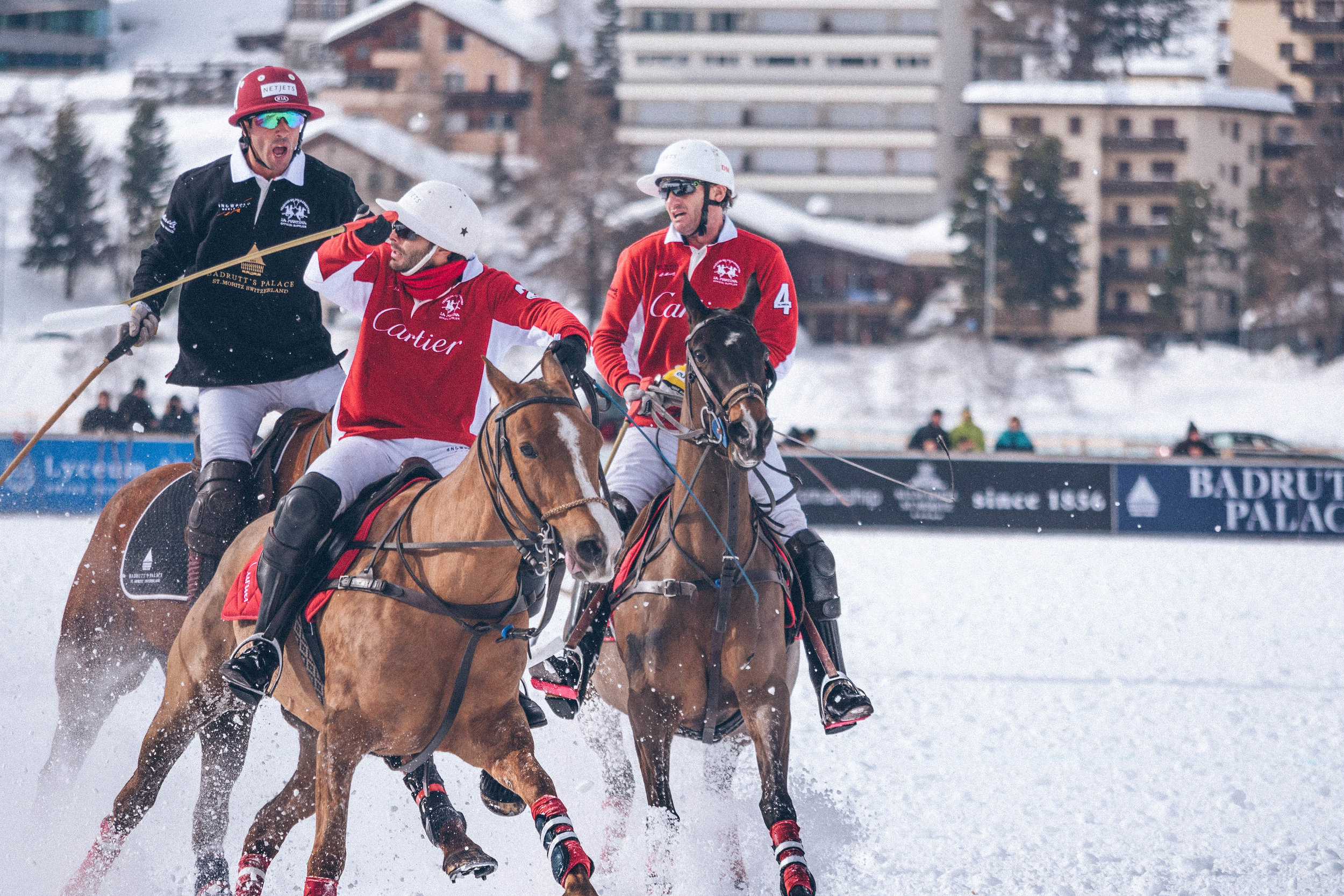 A heated moment in neighbouring St.Moritz during the Snow Polo World Cup; hosted in the last weekend of January annually.