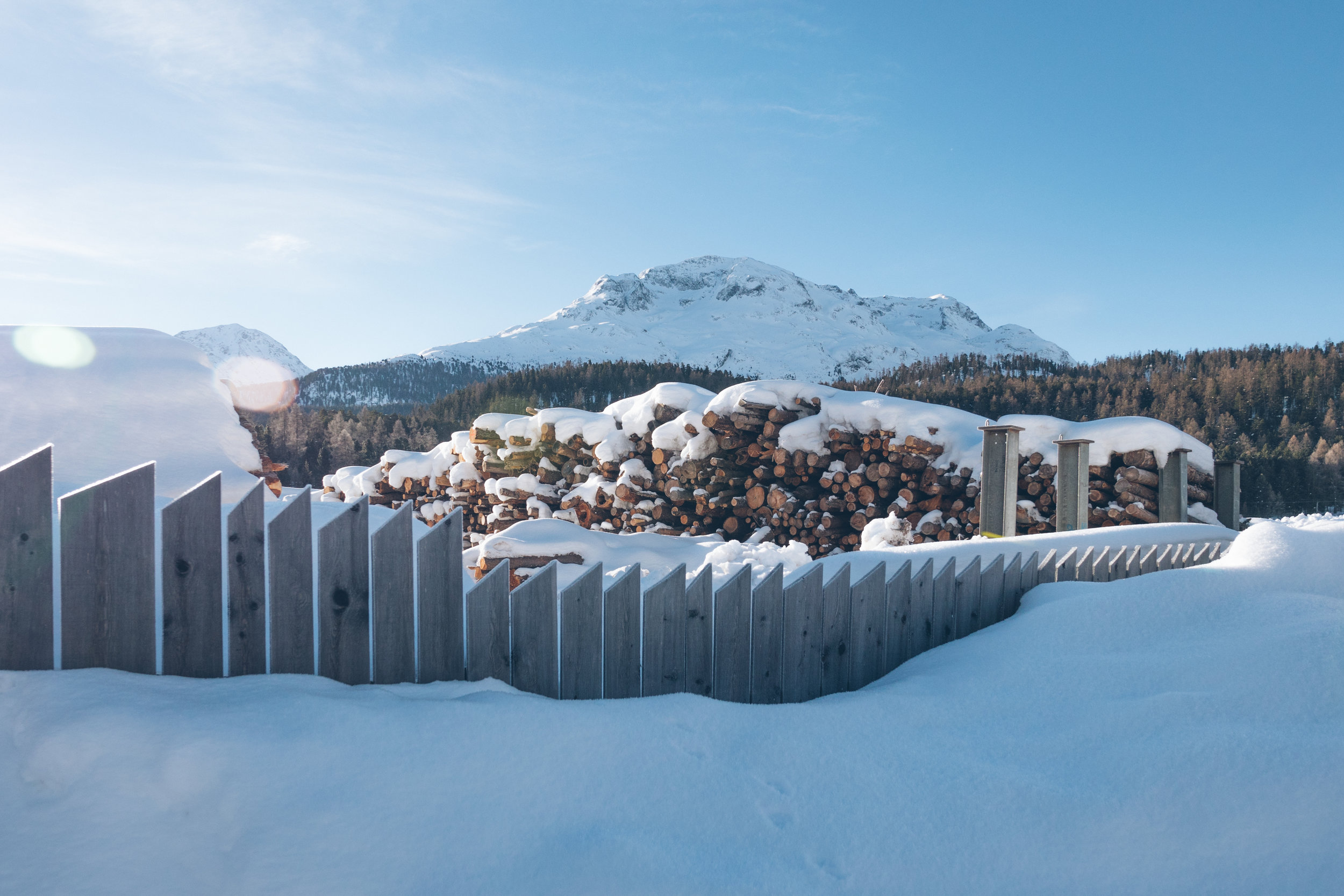 the Engadine valley near hotel Schloss Pontresina in wintertime